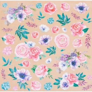 Ацетатный лист «Аромат цветов» 30.5 х 30.5 см от Арт Узор
