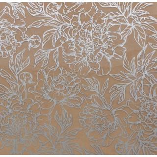 Двусторонний Ацетатный лист «Серебряные пионы» с серебряным фольгированием 20 х 20 см от Арт Узор