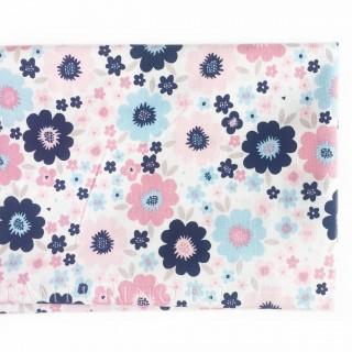 Ткань соцветия синие, розовые и голубые на белом 40х55см.