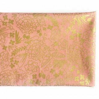 Ткань золотые цветочки на коралловом 40х55см.