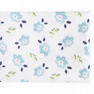 Ткань голубые цветочки на белом 40х55см.
