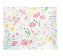 Американский хлопок Зайчики и разноцветные   цветочки на белом 40х55см.