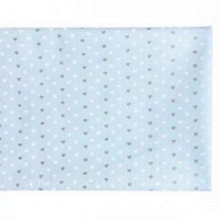 Ткань сердечки  белые и золотые на светло-голубом 40х55см.