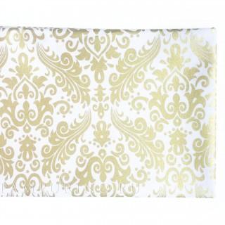 Ткань золотой дамаск на  белом 40х55см.