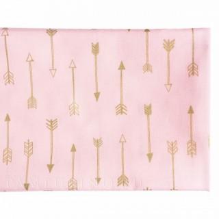 Ткань стрелочки с золотым глиттером на розовом 40х55см.