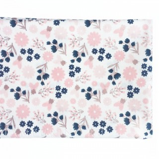Ткань маленькие цветочки с розовым глиттером на белом 40х55см.