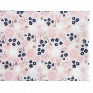 Ткань маленькие цветочки с розовым глиттером на нежно-розовом 40х55см.