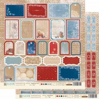 Двусторонняя бумага Крафтовая зима 30х30 см, Fleur Design FD1000607