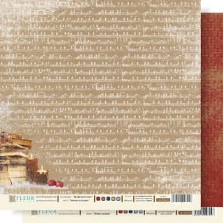 Двусторонняя бумага Крафтовая зима 30х30 см, Fleur Design FD1000604