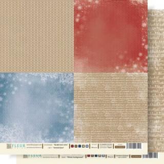 Двусторонняя бумага Крафтовая зима 30х30 см, Fleur Design FD1000609