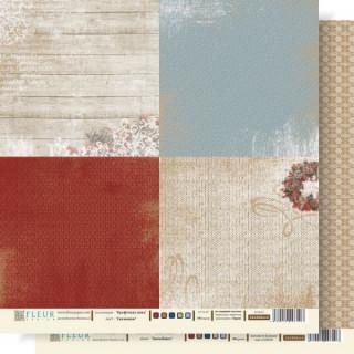 Двусторонняя бумага Крафтовая зима 30х30 см, Fleur Design FD1000610