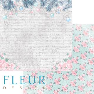 Двусторонняя бумага Новогодняя сказка 30х30 см, Fleur Design FD1004605
