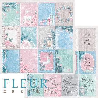 Двусторонняя бумага Новогодняя сказка 30х30 см, Fleur Design FD1004611