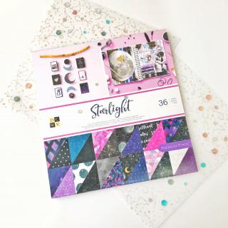 Набор бумаги Starlight  30,5х30,5см с цветным глиттером от DCWV new 2019!