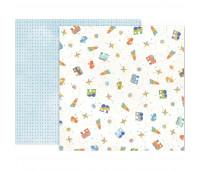 "Лист ""LITTLE ADVENTURER"" Paper 9 для мальчика от Pink Paislee 30,5х30,5 см"