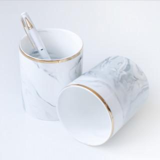 Карандашница керамическая для ручек Мрамор с Золотом 10х8,5см.