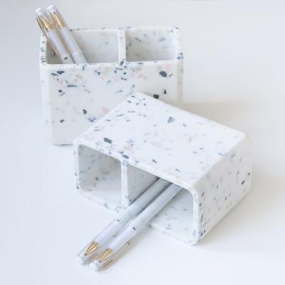 Карандашница для ручек Мрамор 10.3х9,5см.