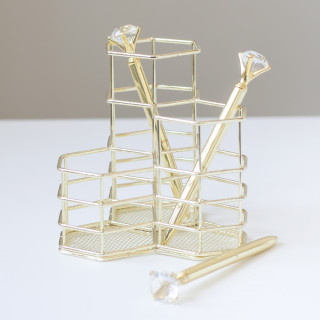 Карандашница для ручек Цвет Золото с тройным модулем.