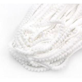 Тесьма с помпонами 7 мм белая 1ярд