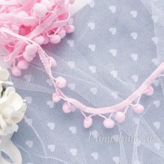 Тесьма с помпонами 10 мм розовая 1ярд