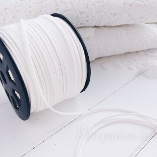 Замшевый шнур 3мм белый 1ярд
