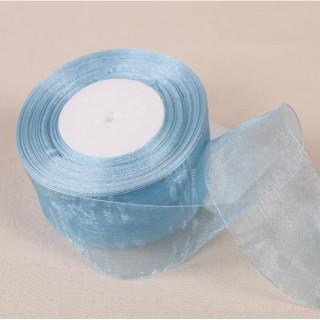 Лента органза Небесно-голубой ширина 2.5 см. / 50 ярдов