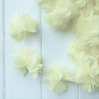 Шифоновые цветочки цвет - Молочный 5шт