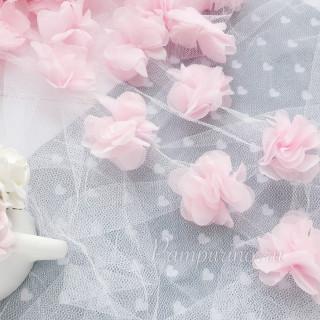 Шифоновые цветочки цвет светло-розовый 5шт