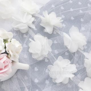 Шифоновые цветочки цвет белый 5шт