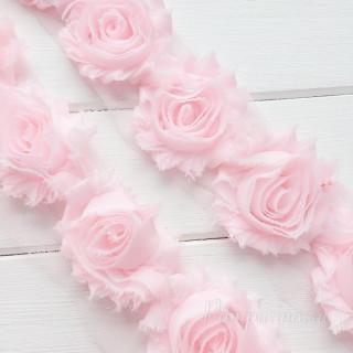 Лента с розочками Цвет- Нежно-розовый 5шт