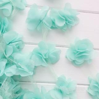 Шифоновые цветочки цвет мятный 5шт