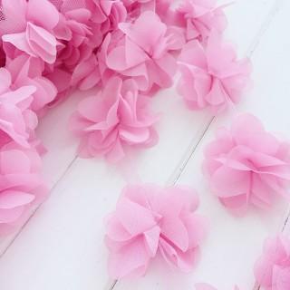 Шифоновые цветочки цвет розовый 5шт
