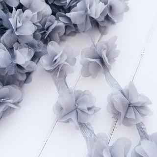 Шифоновые цветочки цвет - Светло-Серый 5шт