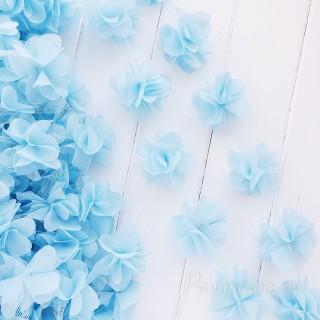 Шифоновые цветочки цвет голубой 5шт