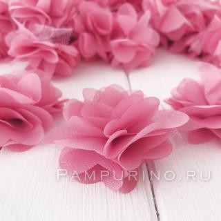 Шифоновые цветочки цвет пыльно-розовый  5шт