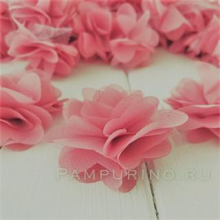 Шифоновые цветочки цвет Пыльно-Коралловый 5шт
