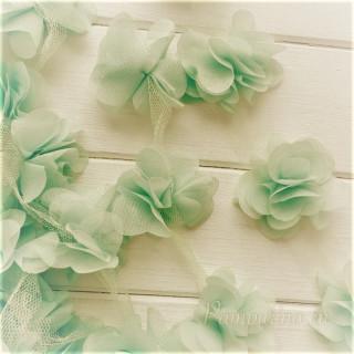 Шифоновые цветочки Ц вет - Пыльно-оливковый  5шт