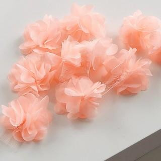 Шифоновые цветочки цвет - персиковый 5шт
