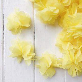 Шифоновые цветочки цвет Пастельно - Желтый  5шт