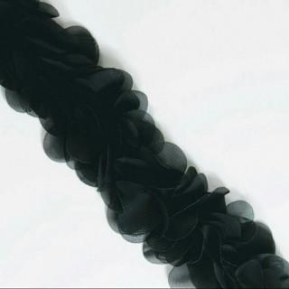 Шифоновые лепестки на ленте черные с округленными лепестками 45см