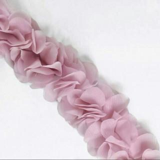 Шифоновые лепестки на ленте пудровые с округленными лепестками 45см