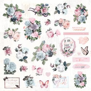 Высечки бумажные и ацетатные Poetic Rose от Prima Marketing 49 шт