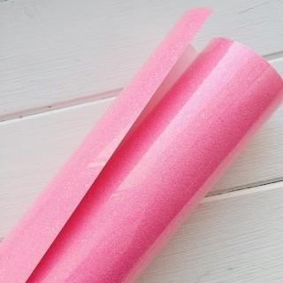 Термотрансферная пленка глиттерная ярко розовая