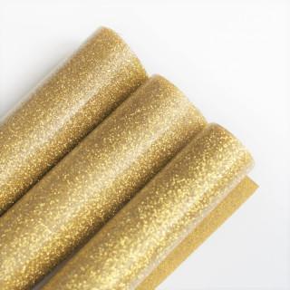 Термотрансферная пленка Глиттерная Бронзовое золото 25х50 см.