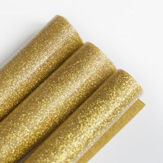 Термотрансферная пленка Глиттерная Золотая 25х50 см.