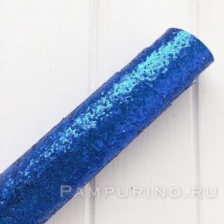 """Ткань с крупным глиттером """"синяя   """" 35х50см"""