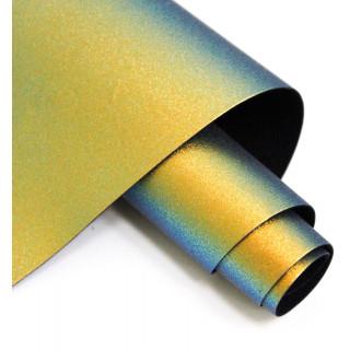 Кожзам Хамелеон Цвет-Лазурно-Золотой  25х63 см.