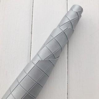 Искусственная кожа с тиснением ромбик Цвет-Серебро 45х35см
