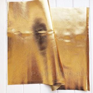 "Кожзам на тонкой мягкой тканевой основе с разводами ""Золото"" 35х50см"