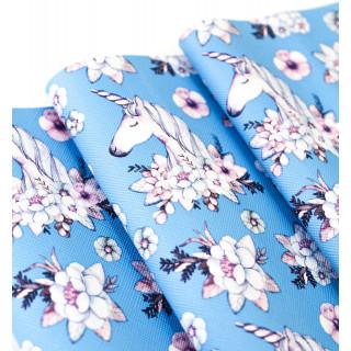 Кожзам Единорожка с цветами на голубом 30х70 см.
